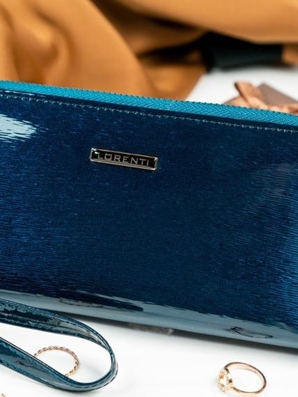 Skórzany portfel damski lakierowany niebieski Lorenti 76119