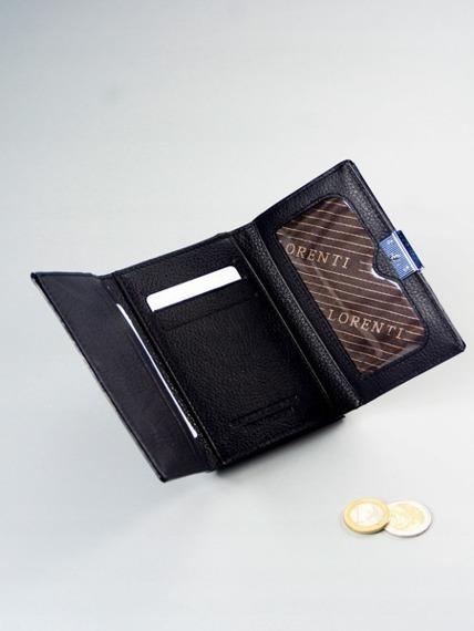 Skórzany portfel damski lakierowany z kryształkami czarny Lorenti 15-09