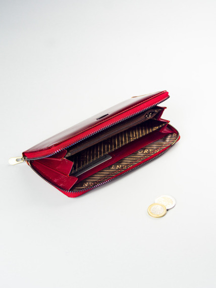 Skórzany portfel damski na zamek lakierowany czerwony Loren 5201