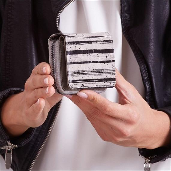 Skórzany portfel damski szaro - czarny Forever Young 5157