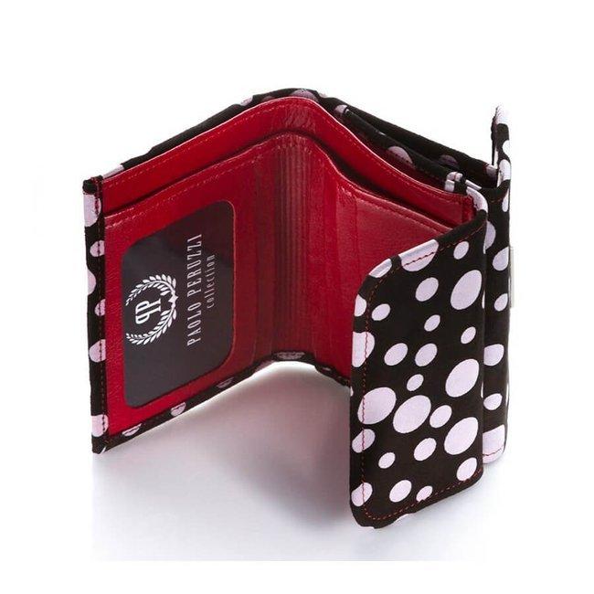 Skórzany portfel damski w groszki PAOLO PERUZZI L-35