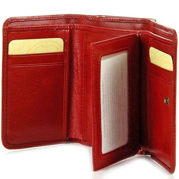 Skórzany portfel damski w pudełku KRENIG Classic 12009 czerwony