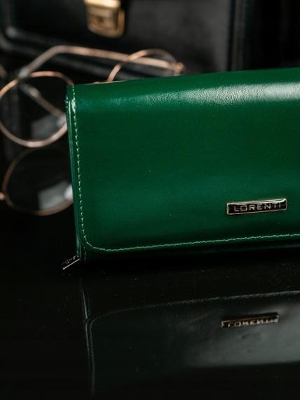 Skórzany portfel damski zielony Lorenti 1077