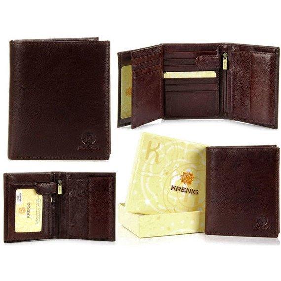 Skórzany portfel męski KRENIG Classic 12040 brązowy w pudełku