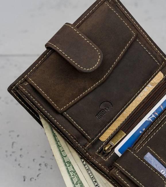 Skórzany portfel męski brązowy Buffalo Wild RM-04L-HBW BROWN