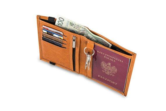 Skórzany portfel męski na paszport SOLIER SW07 jasnobrązowy