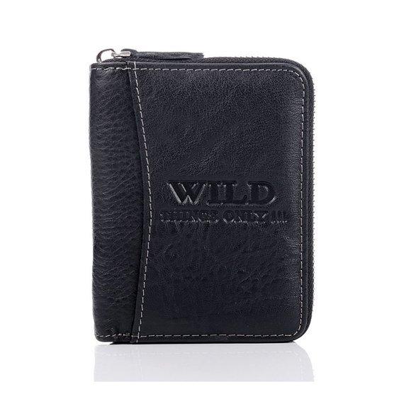 Skórzany portfel męski na zamek Wild things Only GA183 czarny