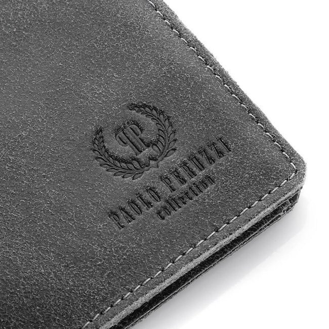 Skórzany portfel męski slim Paolo Peruzzi vintage 003-GR szary