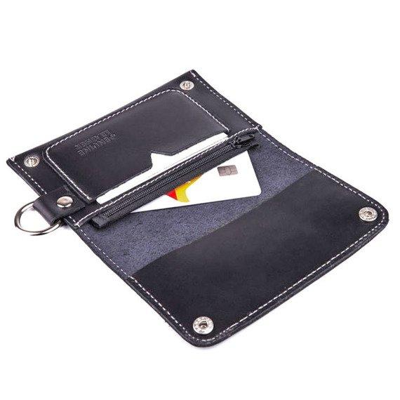 Skórzany portfel męski/wizytownik z miejscem na bilon SOLIER SW20 czarny vintage