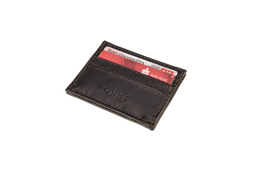 Skórzany portfel wizytownik męski SOLIER SA13 ciemny brąz