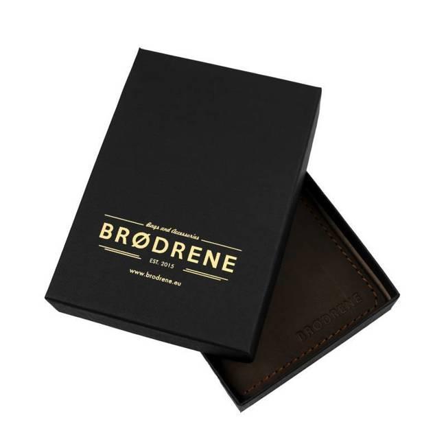 Skórzany stylowy portfel męski Brødrene W02 czarny