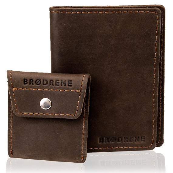 Skórzany zestaw portfel i bilonówka BRODRENE SW01 + CW02 ciemnobrązowy