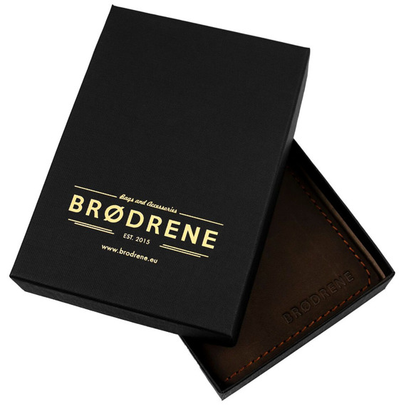Skórzany zestaw portfel i bilonówka BRODRENE SW02 + CW01 ciemnobrązowy