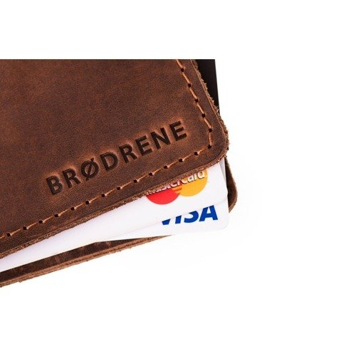 Skórzany zestaw portfel i bilonówka BRODRENE SW02 + CW02 jasnobrązowy