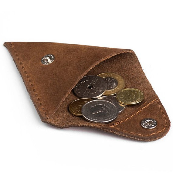 Skórzany zestaw portfel i bilonówka BRODRENE SW03 + CW01 jasnobrązowy