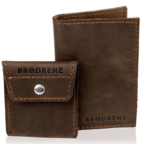 Skórzany zestaw portfel i bilonówka BRODRENE SW03 + CW02 ciemnobrązowy