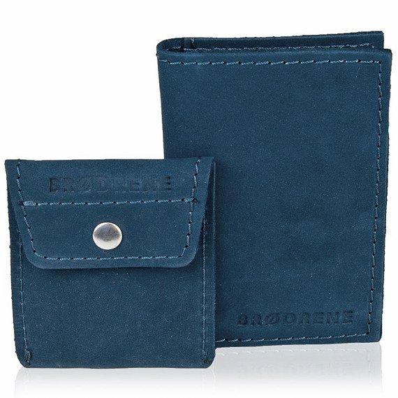 Skórzany zestaw portfel i bilonówka BRODRENE SW03 + CW02 granatowy