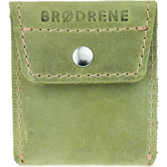 Skórzany zestaw portfel i bilonówka BRODRENE SW07 + CW02 zielony