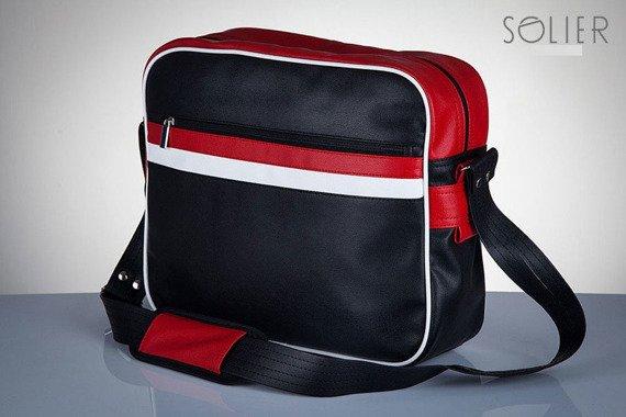 Stylowa torba męska na ramię SOLIER Messenger by Solier MS01 czarno - czerwona