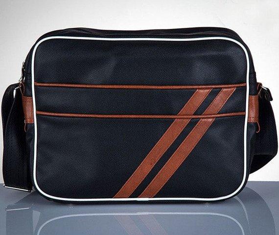 Stylowa torba męska na ramię SOLIER Messenger by Solier MS02 czarno - brązowa