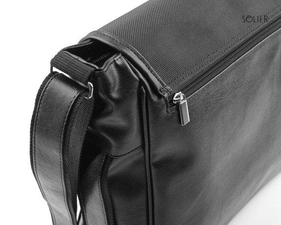 Stylowa torba męska na ramię SOLIER S12 czarna carbon