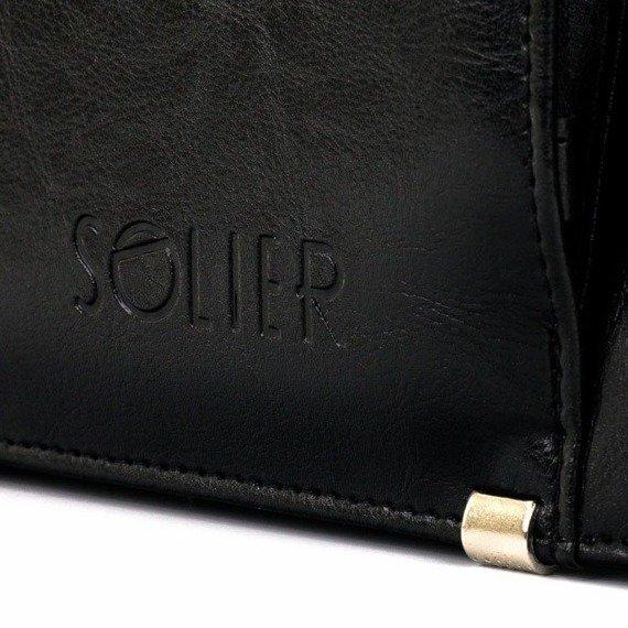Teczka aktówka męska biznesowa SOLIER S21 czarna