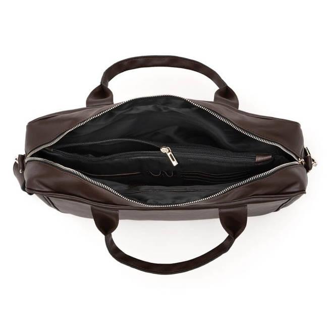 Torba męska na ramię, laptop Brodrene B12 ciemny brąz