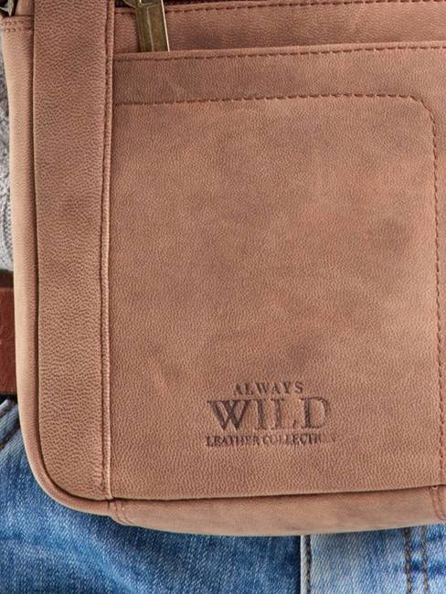 Torba skórzana listonoszka Always Wild 8020 c.brąz