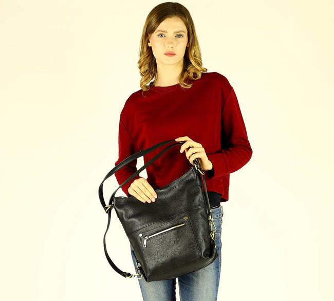 Torebka damska czarna plecak MARCO MAZZINI s261a