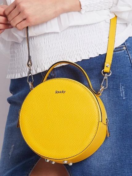 Torebka damska kuferek włoski skórzany Rovicky żółty