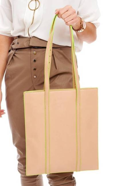 Torebka damska shopper ćwieki beżowa NOBO NBAG-I0720-C015