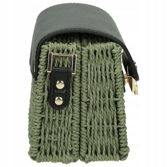 Torebka damska wiklinowy kuferek Nobo zielony