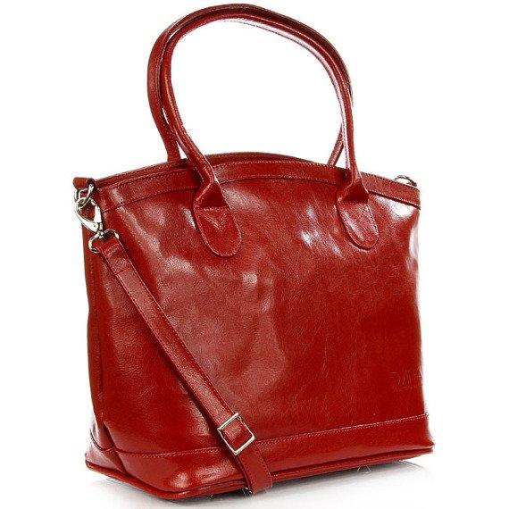 Torebka kuferek ze skóry naturalnej DAN-A T268 czerwona