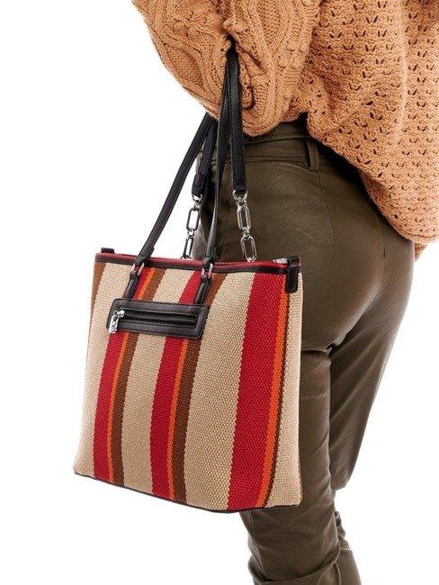 Torebka shopper bag w pasy Nobo czerwona 1420