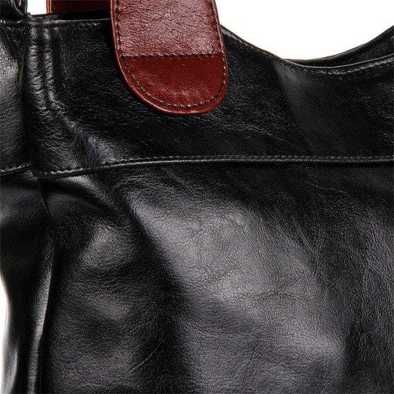 Torebka skórzana elegancka DAN-A T195A czarno-koniakowa