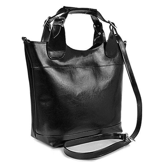 Torebka skórzana elegancki kuferek DAN-A T195 czarna
