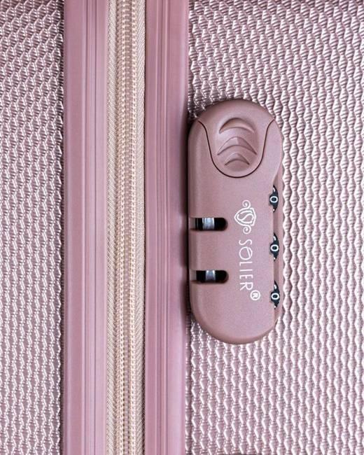 Walizka różowa SOLIER STL946 PINK L
