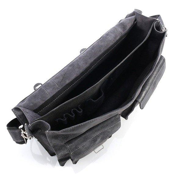 Włoska teczka skórzana vintage czarna Paolo Peruzzi 045TM