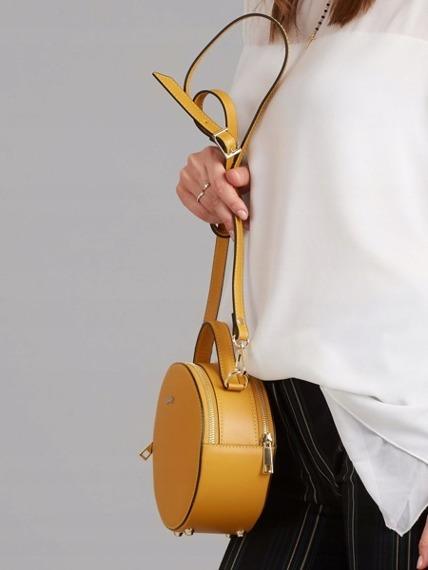 Włoska torebka skórzana okrągła żółta Rovicky TWR-71
