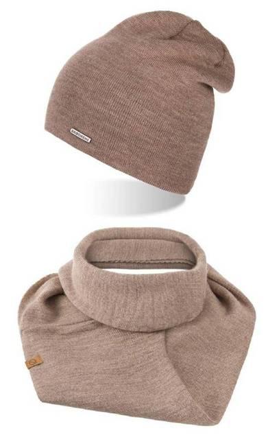 Zestaw czapka komin beżowy Brødrene ZES2COFFEE