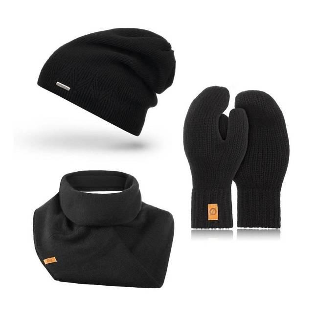 Zestaw czapka komin rękawiczki Brodrene czarny 1010691-ZES3BLACK